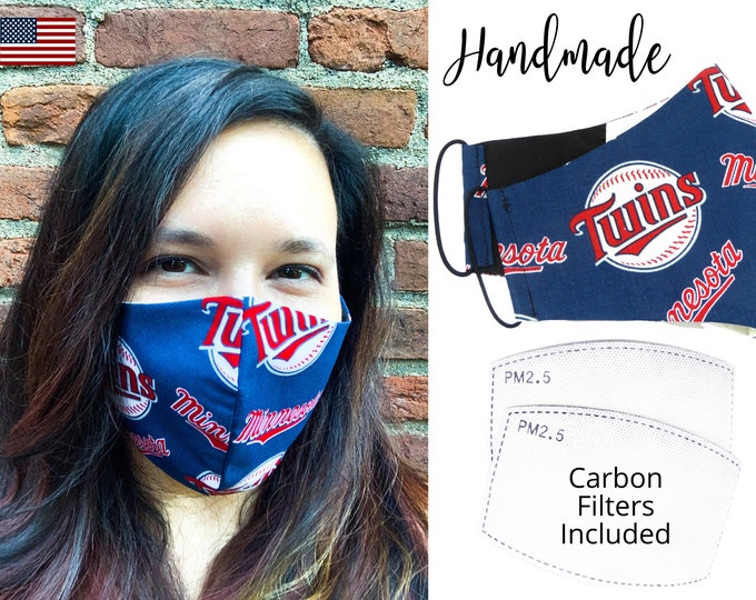 Minnesota Twins Baseball Cotton Fabric Face Mask adjustable elastic tie, for Adult Men Women & children, handmade with carbon filter pocket