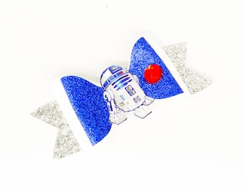 R2-D2 Star Wars Disney Inspired R2D2 Blue Chunky Glitter Hair Bow