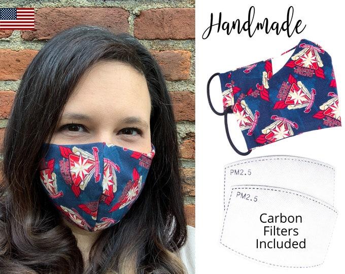 Captain Marvel Avengers Cotton Fabric Face Mask with adjustable elastic tie, for Adult Men Women & children, handmade carbon filter pocket