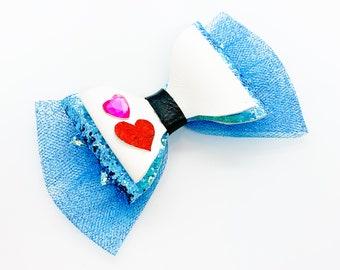 Alice in Wonderland Disney Inspired Glitter Hair Bow