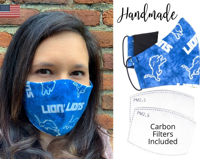 Detroit Lions Cotton Fabric Football Face Mask with elastic tie, for Adult Men Women and children, handmade with carbon filter pocket