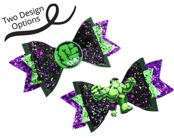 The Hulk Marvel Comics Avengers Superhero Inspired Green Chunky Glitter Hair Bow