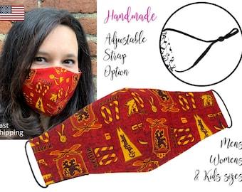 Harry Potter Gryffindor House Cotton Fabric Face Mask with adjustable elastic tie, for Adult Men Women & children, handmade filter pocket