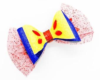 Snow White Disney Inspired Seven Dwarfs Glitter Hair Bow