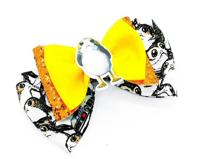 Porg Star Wars Inspired Fabric and Orange Chunky Glitter Hair Bow