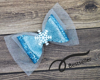 Frozen Elsa Snowflake Blue Chunky Glitter and Tulle Hair Bow