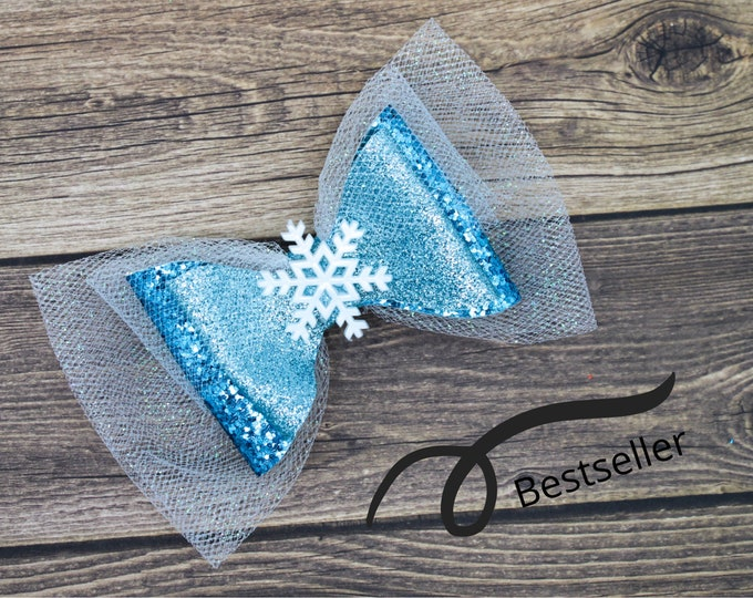 Featured listing image: Frozen Elsa Snowflake Blue Chunky Glitter and Tulle Hair Bow
