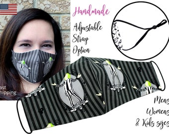 LIMITED TIME Beetlejuice Cotton Fabric Face Mask with adjustable elastic tie, for Men Women & children, handmade carbon filter pocket