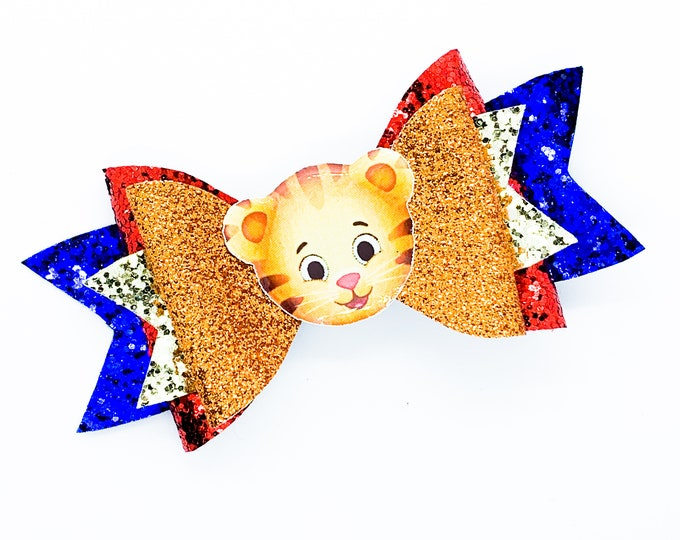 Daniel Tiger PBS Inspired Orange Chunky Glitter Hair Bow