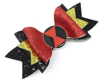 Black Widow Marvel Comics Avengers Inspired Black and Red Chunky Glitter Hair Bow