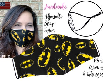 Batman Black and Yellow Fitted Fabric Face Mask with adjustable ear straps, Men Women & children sizes, handmade with carbon filter pocket