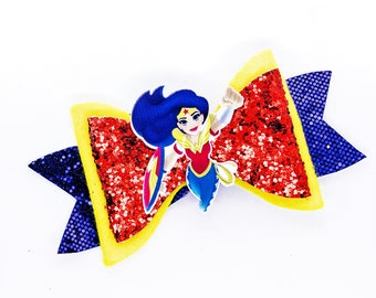Wonder Woman DC Super Hero Girls Inspired Glitter Hair Bow