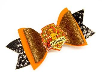 Gryffindor House Harry Potter Inspired Orange Fine Glitter Hair Bow
