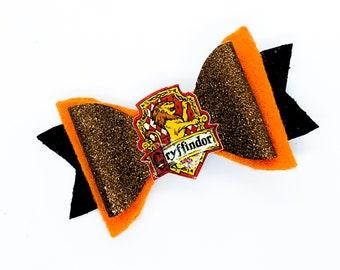 House Gryffindor Harry Potter Inspired Glitter Hair Bow