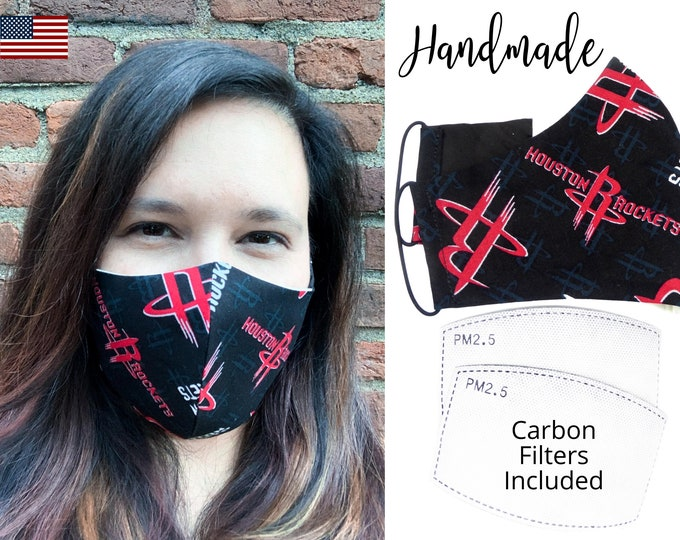 Houston Rockets Cotton Fabric Basketball Face Mask with elastic tie, for Adult Men Women and children, handmade with carbon filter pocket