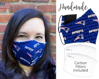 New England Patriots Football Cotton Fabric Face Mask with elastic tie, for Adult Men Women & children, handmade with carbon filter pocket