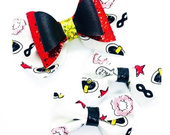 The Incredibles 2 Disney Inspired Cotton Fabric Glitter Hair Red Fabric Bow Set