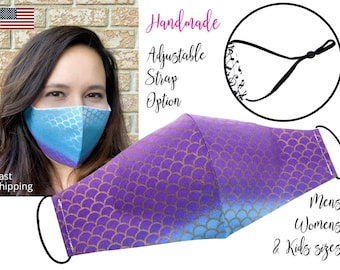 Mermaid Ombre Scales Fitted Fabric Face Mask with adjustable ear straps, Mens Woman Men & children sizes, handmade with carbon filter pocket