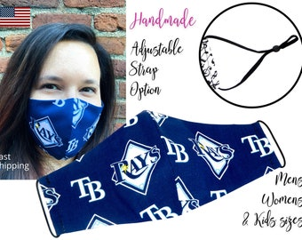 Tampa Bay Rays Baseball Fitted Fabric Face Mask & elastic tie, for Adult Men Women and children, handmade with carbon filter pocket