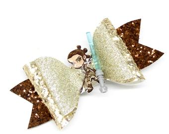 Rey Skywalker Star Wars Inspired Brown Chunky Glitter Hair Bow