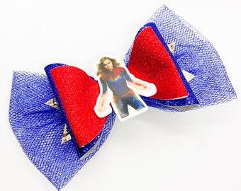 Captain Marvel Comics Avengers Inspired Glitter Fabric Hair Bow