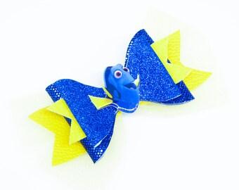 Dori Finding Nemo Disney Movie Inspired Orange Glitter and Tulle Hair Bow