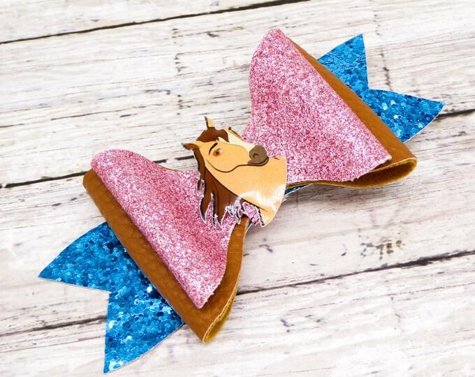 Spirit Riding Free Dreamworks Inspired Lucky Pru and Abigail Glitter Leather Hair Bow