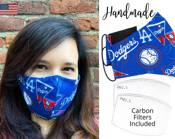 LA Los Angeles Dodgers Baseball Cotton Fabric Face Mask & elastic tie, for Adult Men Women and children, handmade with carbon filter pocket