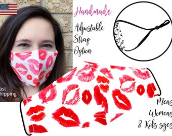 Red and White Lipstick Lips Fitted Fabric Face Mask adjustable elastic tie, for Adult Men Women & children, handmade with pocket