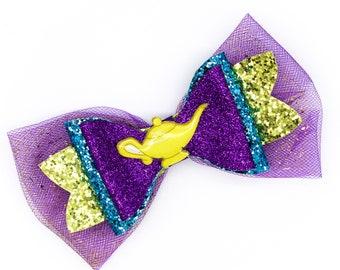 Aladdin Genie Lamp Glitter Hair Bow