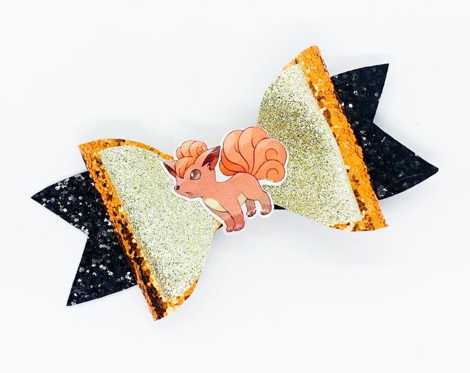 Vulpix Pokemon Nintendo Trading Card Game Inspired Orange Chunky Glitter Leather Hair Bow