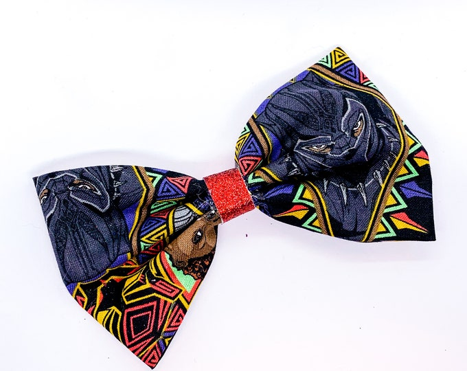 Black Panther Marvel Comics Avengers Inspired Fabric Hair Bow