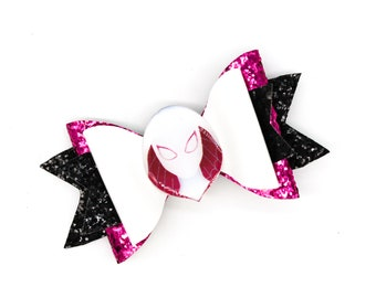 Spider Gwen Marvel Comics Avengers Superhero Spiderman Inspired Pink and Black Glitter Hair Bow
