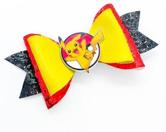 Pikachu Pokeball Nintendo Pokemon Inspired Glitter Leather Hair Bow