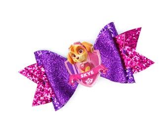 Skye Paw Patrol Inspired Pink Chunky Glitter Hair Bow