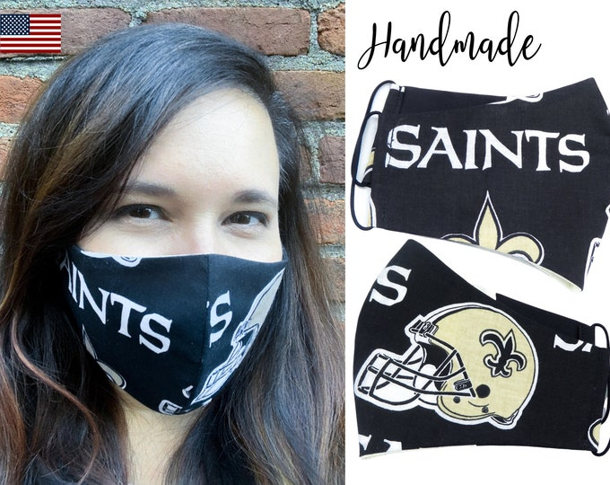 New Orleans Saints Football Cotton Fabric Face Mask with adjustable elastic tie, for Adult Men Women & children, handmade filter pocket