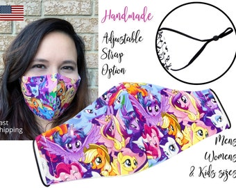 My Little Pony Fitted Fabric Face Mask with adjustable elastic tie, for Adult Women and children, handmade and washable carbon filter pocket