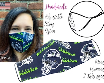Seattle Seahawks Football Cotton Fabric Face Mask with elastic tie, for Adult Men Women and children, handmade & carbon filter pocket