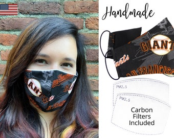 San Francisco Giants Baseball Cotton Fabric Face Mask & elastic tie, for Adult Men Women and children, handmade with carbon filter pocket