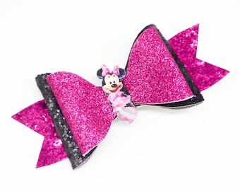 Pink Minnie Mouse Glitter Hair Bow