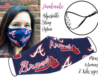 Atlanta Braves Baseball Fitted Fabric Face Mask adjustable elastic tie, for Adult Men Women and children, handmade with carbon filter pocket