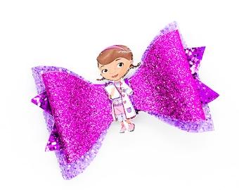 Doc McStuffins Disney Inspired Purple Chunky Glitter Hair Bow