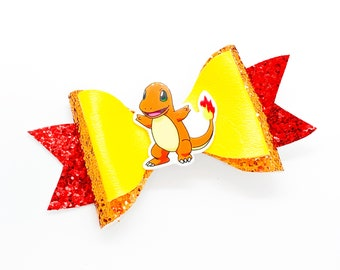 Charmander Pokemon Glitter Hair Bow