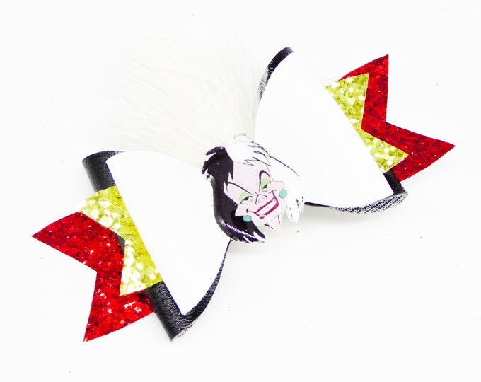 Cruella de Vil Leather Glitter Hair Bow