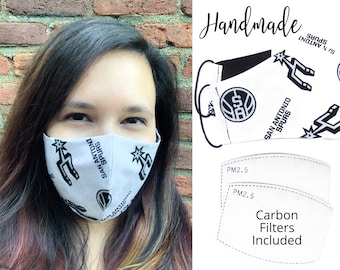 San Antonio Spurs Cotton Fabric Basketball Face Mask with adjutable elastic tie, for Adult Men Women & children, handmade with filter pocket