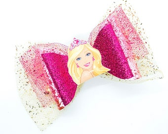 Barbie Dreamhouse Netflix Inspired in the Pink Chunky Glitter and Tulle Hair Bow