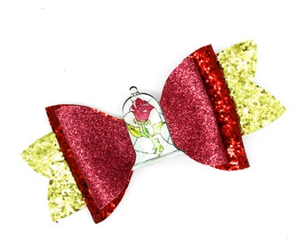 Chip Beauty and the Beast Glitter Hair Bow