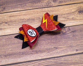 Harry Potter Lightning Bolt Platform Leather and Glitter Hair Bow