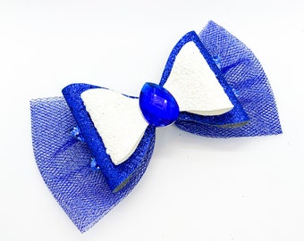 Belle Blue Dress Disney Inspired Princess Beauty and the Beast Glitter Hair Bow