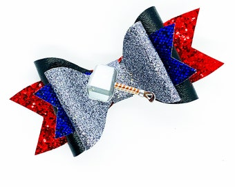 Thor Marvel Comics Avengers Inspired Blue Chunky Glitter Hair Bow